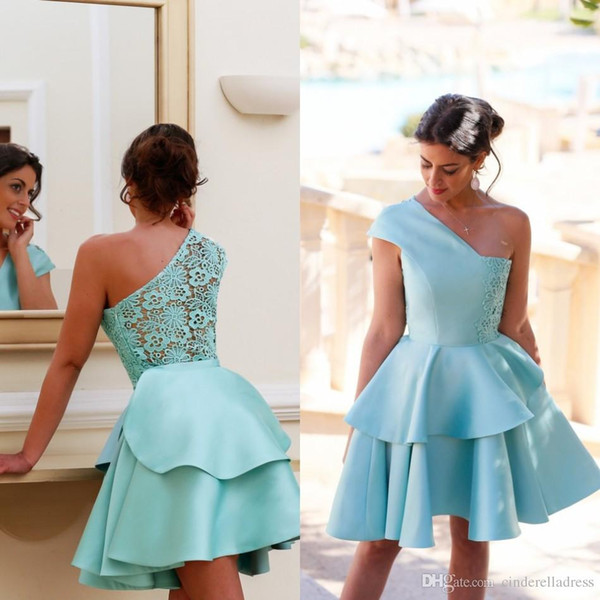 New 2017 Summer Mint Lace Short Cocktail Dresses One Shoulder Homecoming Gowns Teens Prom Party Dresses Fast Shipping