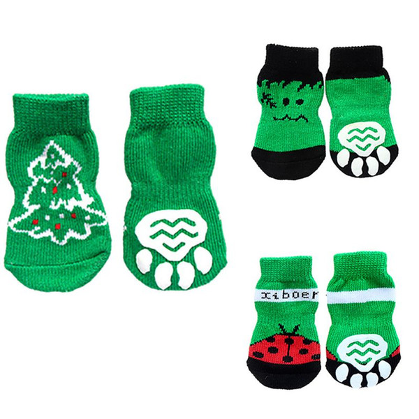 7 Styles 4pcs Pet Dog Knit Socks Pattern Printed Non-slip Cotton Socks Paws Cover Warm Shoes S M L XL