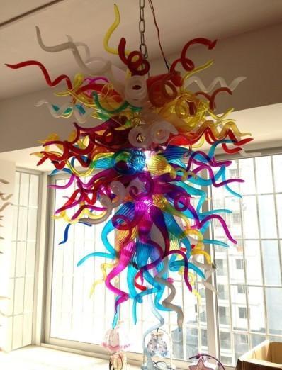 Lampadario a catena in vetro soffiato a mano in cristallo multicolore C69-Modern appeso a sospensione in vetro decorativo personalizzato a LED