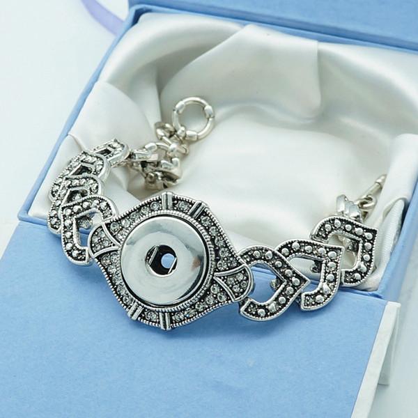 New Fashion Sg0048 Vintage Rhinestone Hearts Metal Charm Snap Bracelets Bangle 23cm Fit 18mm Diy Snap Buttons Jewelry