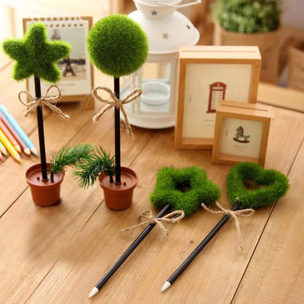 6pcs Artificial Pot Plant Shape Ballpoint Pens Vivid Cute Stationery Gifts Price Christmas Home School Office Decoration Material Escolar