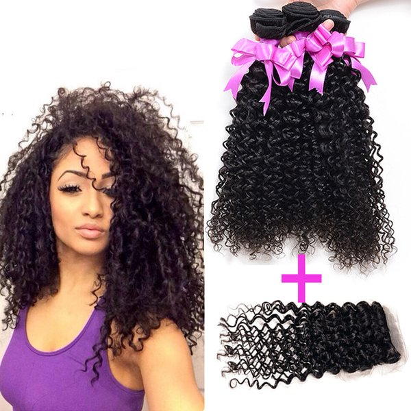 Cyber Monday Sale! Kinky Curly Brazilian Human Hair Extensions 3Bundles With Free Closure Nature Color Dyeable Bleachable Soft Tangle Free
