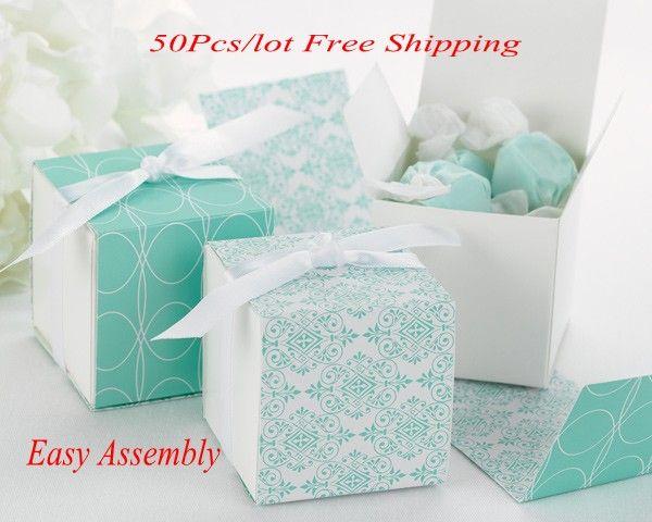 (50 шт./лот) идеальный свадебный подарок коробка обратимым Аква дамасской обернуть коробки для свадьбы и Партии пользу коробки и конфеты коробки