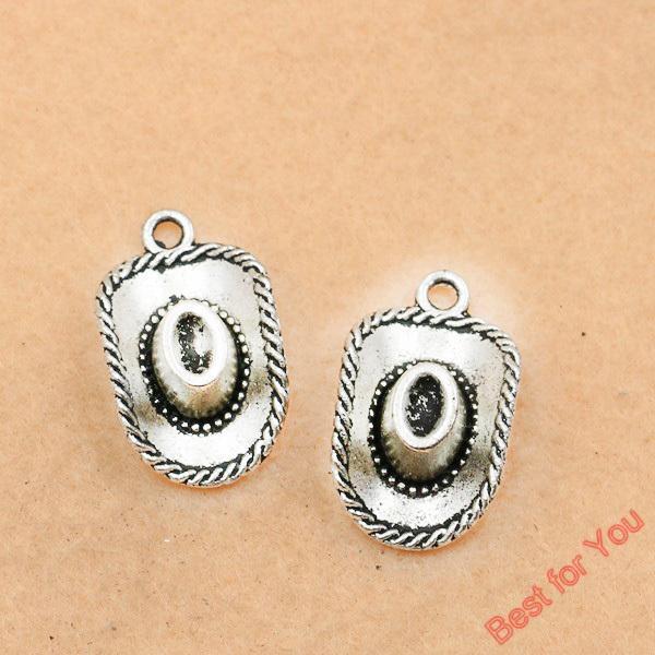 50pcs Tibetan Silver Tone Cow Boy Hat Crown Charms Pendants Jewelry Diy Craft Charm 22x13mm jewelry making