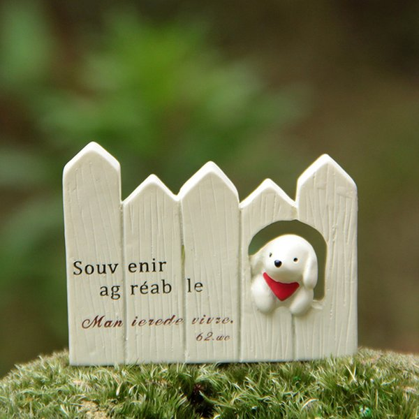 1pcs Pet Dog Fence Mini Fairy Garden Miniatures Terrarium Bonsai Tool Jardim Resin Craft Dollhouse Ornament Micro Landscape Home Accessories