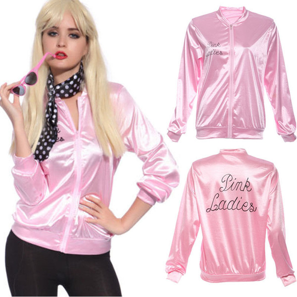 Wholesale- 2017 New Halloween Pink Hoodies Lady Retro Jacket Womens Fancy Dress Grease Costume Cheerleader Women Pink Autumn Clothing