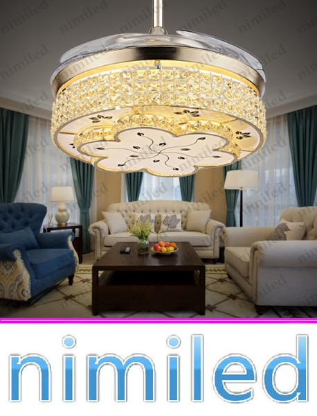 top popular nimi914 Invisible Living Room Retractable Crystal Ceiling Fan Lights Restaurant Light Bedroom Modern Luxury Chandelier Pendant Lamps 2021