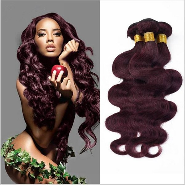 New! 9A Top Grade Wine Red Brazilian Human Hair Weaves Body Wave 3 Pieces Lot #99j Burgundy Brazilian Wet and Wavy Hair Weaves