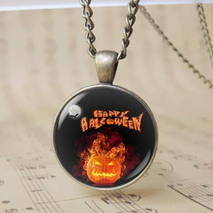 12pcs Happy Halloween Day Fury Anger Pumipkin Pendant Necklace Trick or Treat Jack O Lantern Charm Hallowas Gift for Boy Girl T1104