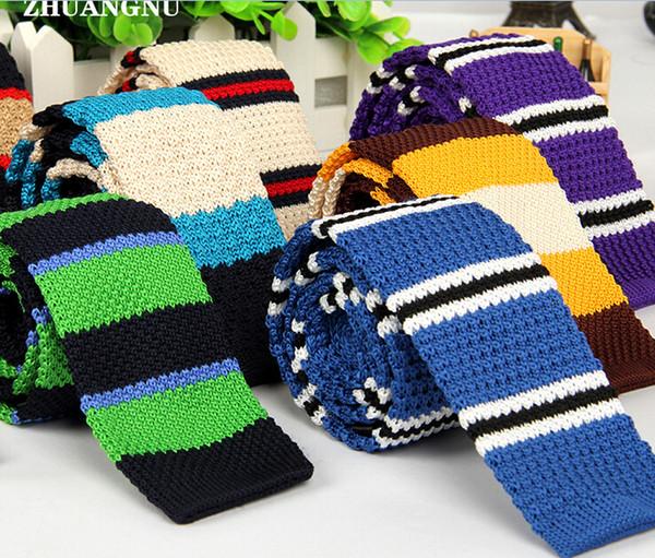 2016 nuevas llegadas de los hombres a rayas de lunares tejido tejido de punto corbata de punto delgado flaco corbata 29 colores de moda de los hombres Neckwears