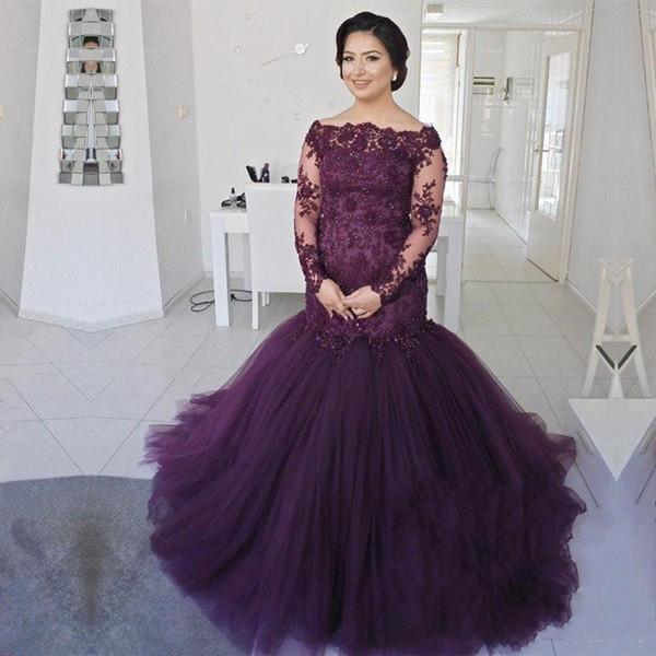 Lujo Morado Manga larga sirena Madre de los vestidos de novia Bateau 2019 Vintage con lentejuelas con cuentas más el tamaño Puffy Tul vestidos de noche