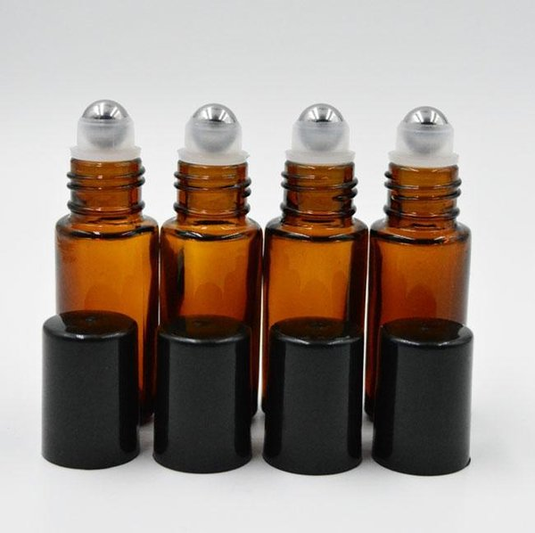 best selling Portable 5ml 1 6oz MINI ROLL ON Glass bottle fragrance PERFUME Amber Brown THICK GLASS BOTTLES ESSENTIAL OIL Steel Metal Roller ball