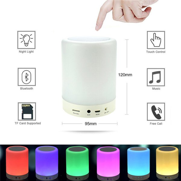 7 Color Night Light Bluetooth Speakers Portable Wireless Music Speaker Smart Touch Control Color LED Bedside Table Lamp Speakerphone TF Card