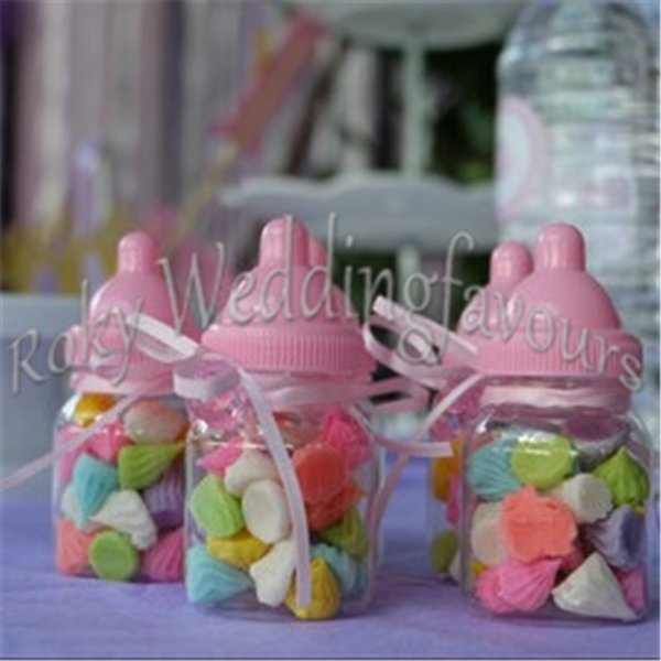 FREE SHIPPING 24PCS Fillable Bottles Candy Boxes Baby Bottle Favors Box Baby Shower Birthday Party Favors Christening Decors