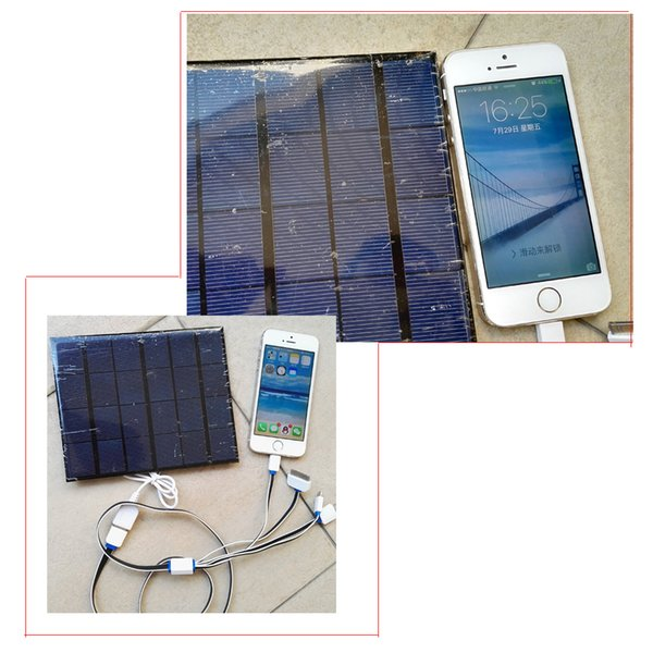 Portable USB Solar Panel Battery Charger 5V 3.5W Solar Cell Power Bank for Huawei P9 Iphone 4 6 Xiaomi mi band 2 + 1 to 4 USB Cable
