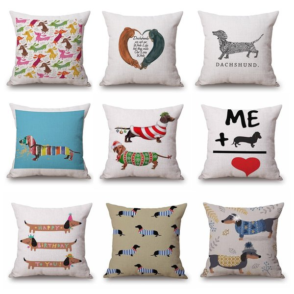 top popular Dachshund Merry Christmas Festival Cushion Cover 45X45cm Sausage Dog Oil Painting Thick Linen Cotton pillow cover Bedroom Sofa decoration 2019