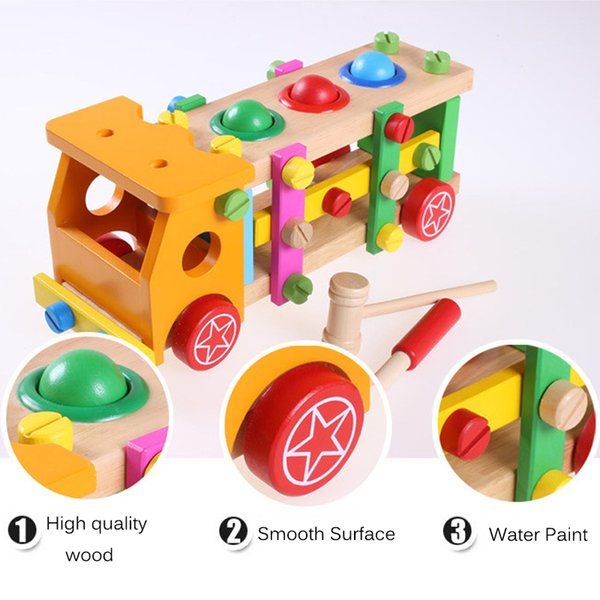 Wood Toys for Kids Baby Educational Wooden Toys Disassembly Screw Nut Vehicle Car Knock Ball Developmental Baby Toy Free Shipping