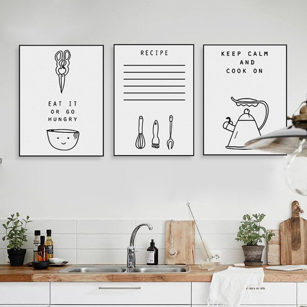Modern Nero Bianco Kawaii Hippie Quotazioni di Cucina Poster ...
