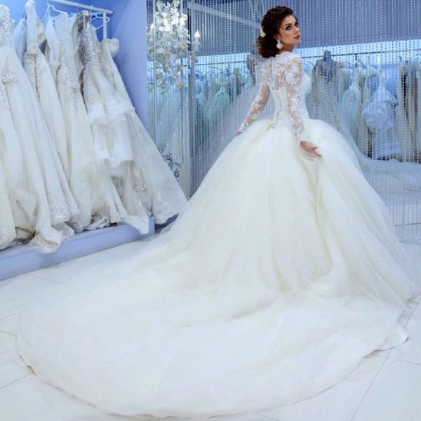 Discount Vestido Casamento Modst Design Long Sleeve High Wedding ...