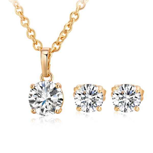 top popular 18K Yellow Gold Plated White Black Small 6mm CZ Piercing Stud Earrings 8mm Pendant Cross Chain Necklace Jewelry Sets for Women Girls 2020