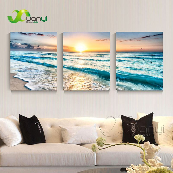 3 Panel Canvas Art Sunset Seascape Painting Sea Wave Picture For Bed Room Home Decor Wall Art Canvas Prints Unframed PR1279
