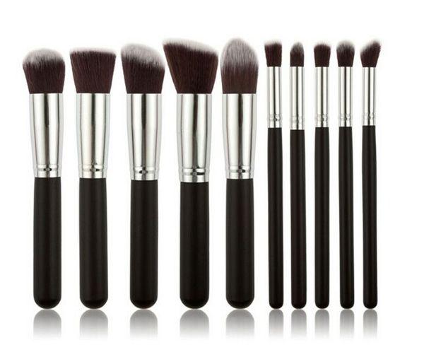 Kabuki Makeup Brushes 10pcs/set Professional Cosmetic Brush Kit Nylon Hair Wood Handle top quality DHL free best christmas gift