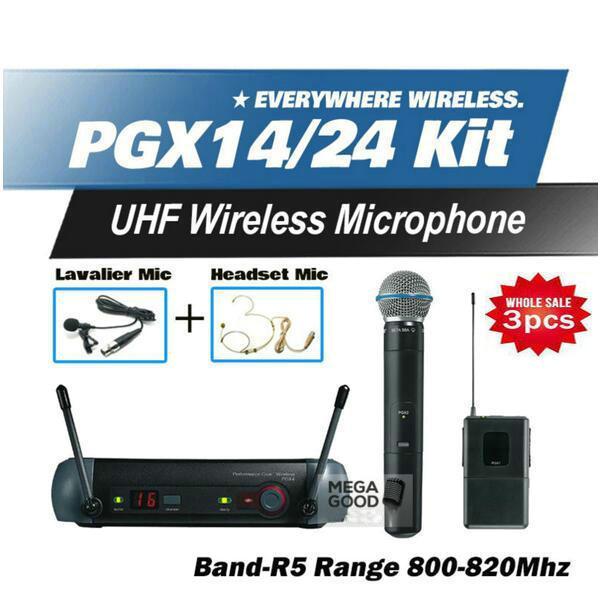 3pcs Microfono Free Shipping PGX PGX14 PGX24 BETA UHF Wireless Microphone Karaoke System With BodyPack BETA58 Handheld Transmitter Microfone