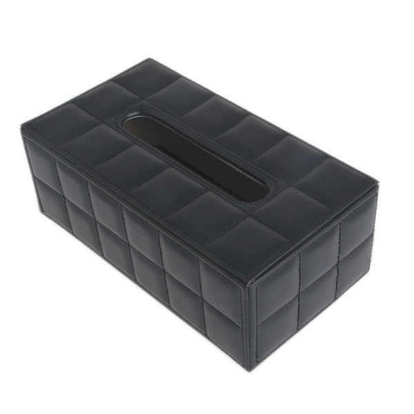 best selling Wholesale- Durable Leather PU Standard Tissue Box Holder For Home Office Car Rectangular C42