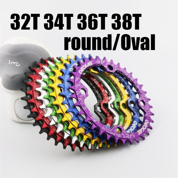 top popular Catazer Newest 104 BCD Bike Bicycle Narrow Wide Chainring Oval Round Chainwheel 32T 34T 36T 38T With 7 Colors Choose 2019