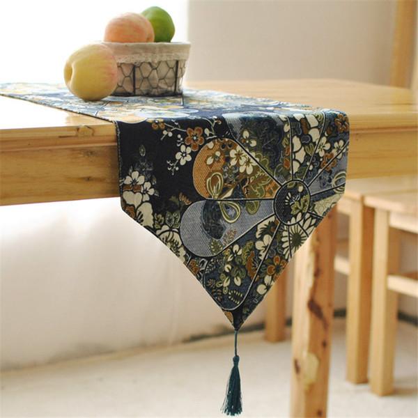 BZ393 Japanese elegant linen table runner wind retro coffee table restaurant decoration flag