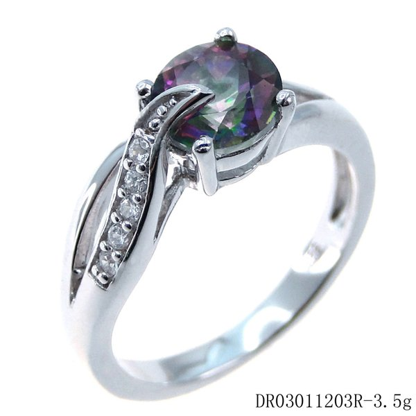 Fashion jewelry Wedding Ring 925 Sterling Silver Shinny mystery Topaz Rhodium plating DR03011203R size 7 Free Shipping