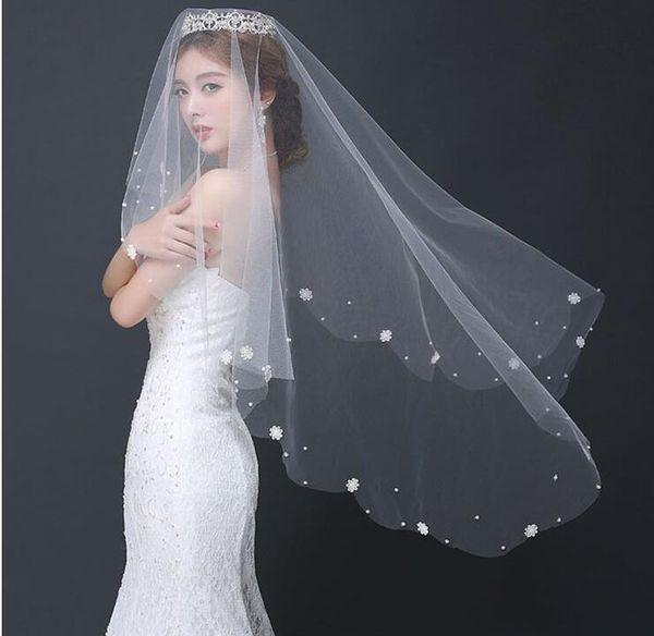 trasporto libero veli da sposa 1.5 m applique perline tulle lunghezza polpastrello per la vendita calda di nozze a buon mercato