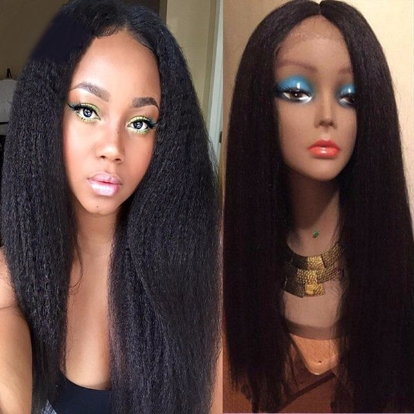 4x4 Silk Top Full Lace Wigs Glueless Light Yaki Brazilian Virgin Hair Lace Front Human Hair Wigs Yaki Straight For Black Women