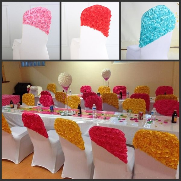 High Quality Celegant Rose Flower Color Chair Covers Spandex For Wedding Banquet Chair Covers Decor Free Shipping