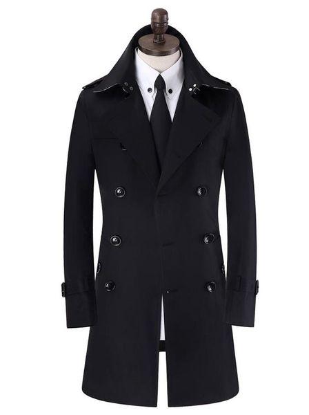 Khaki black beige black double breasted mens trench coats man long coat men clothes slim fit cotton overcoat men plus
