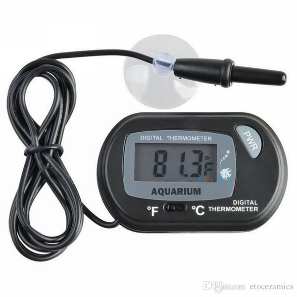 best selling Mini Digital Fish Aquarium Thermometer Tank with Wired Sensor battery included in opp bag Black Yellow color for option Free shipping