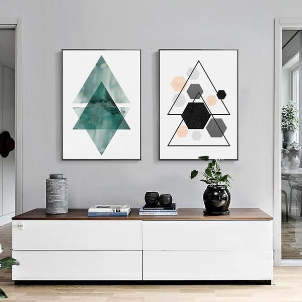 Acheter 2 Photos De Triangle Coloré à La Maison Peinture Décorative De Mode Murale Art Cadre Peinture De 9 88 Du Thesceneryofhome Dhgate Com