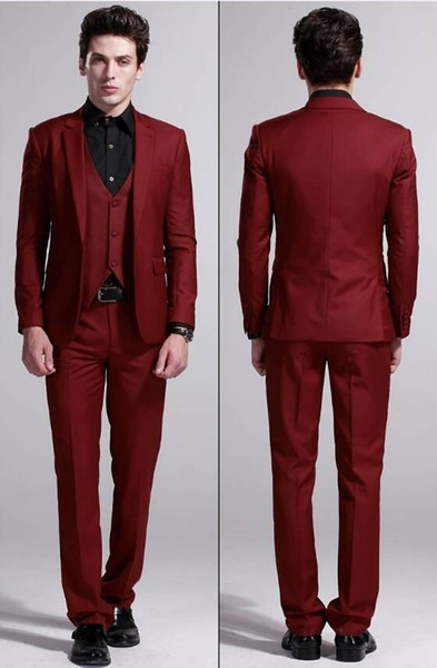 High Quality New Wine red Business Casual Men Dress Wedding Suits For Men Wedding Groom Suit Slim Fit (Jacket+Pants+Vest)