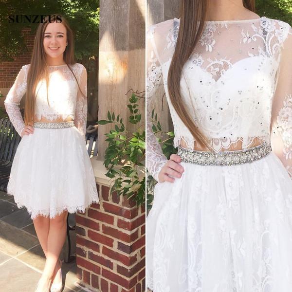 Compre Vestidos De Fiesta Blancos De Manga Larga Y Cortos Vestidos De Fiesta De Encaje De Dos Piezas Para Niñas Con Cuentas Vestido De Regreso A Casa