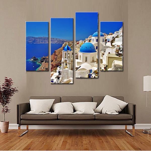 Maisons blanches et églises traditionnelles et célèbres avec des dômes bleus au-dessus de la Caldera mer Égée 4 pièces impression sur toile pour salon décoration