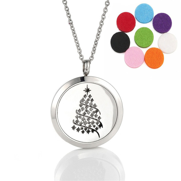Snowflake Christmas Tree Aromatherapy Pendant Essential Oil Diffuser Stainless Steel Locket Necklace with 8 Refill Pads