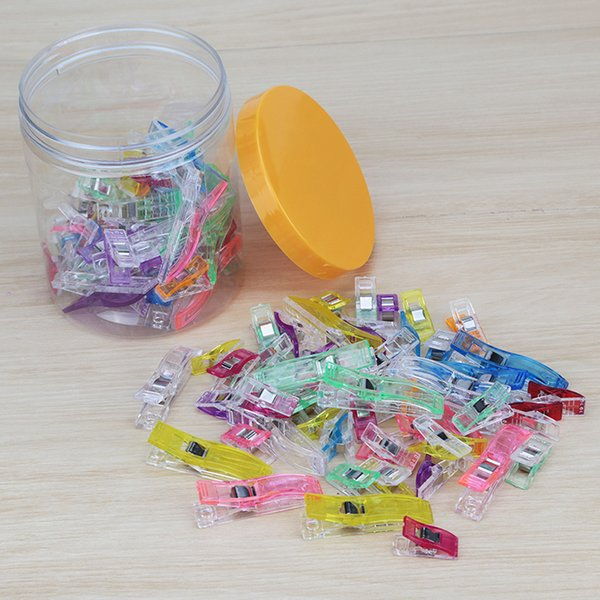 100pcs 75 S+25 Large Colorful Sewing Craft Quilt Binding Plastic Clips Clamps Replace Straight Sewing Pins Crochet Tools