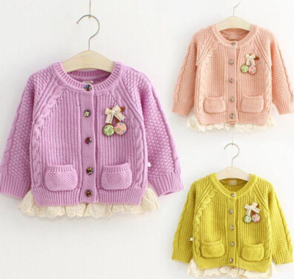 baby girl cardigan sweater Children's clothing new Fashion cardigan knit sweater/Kids cotton long sleeve sweater