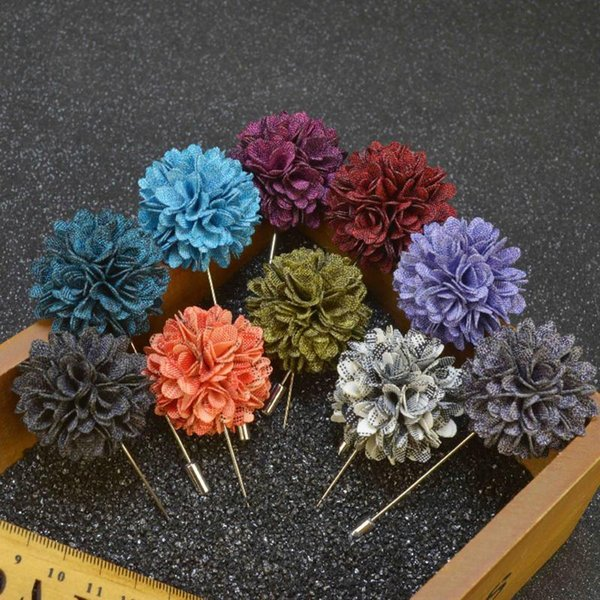 New fashion men brooch flower lapel pin suit boutonniere Fabric yarn pin 11 colors button Mini flower broochers for women Men's Accesso