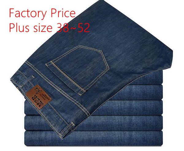 2016 Fashion Designer solid blue Daddy size demin jeans Plus size size 38~52 men jeans Straight zipper men long pants trousers 5pcs/lots