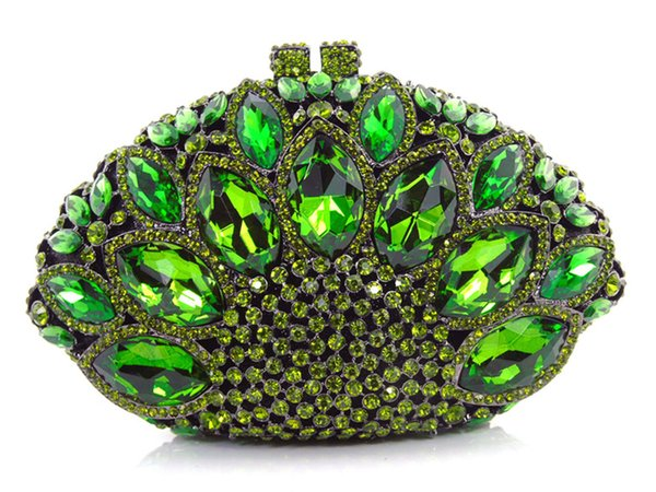 Free shipping !! Z16-6 green color fashion top crystal stones ring clutches bags for ladies nice party bag