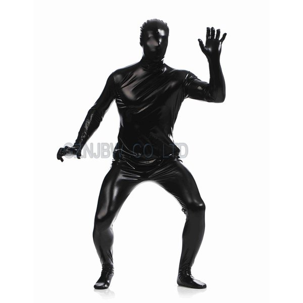 Vendita all'ingrosso-Adult Mens Faux Leather Metallic Nero Bright Full Skin Zentai Cosplay Costume Halloween Suit Body Unitard body