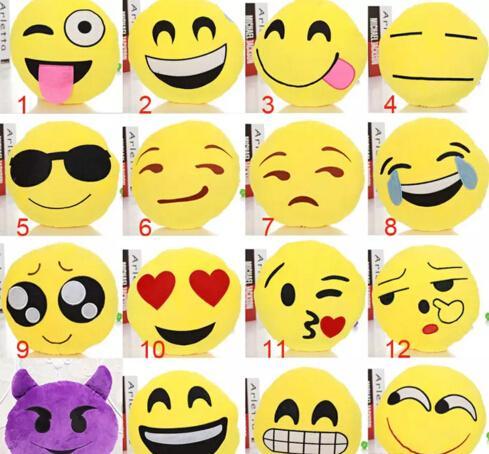 Acheter 23 Styles Coussin Mignon Belle Emoji Smiley Oreillers Dessin Animé Facial Qq Coussin Expression Coussins Oreiller Rond Jaune Peluche En