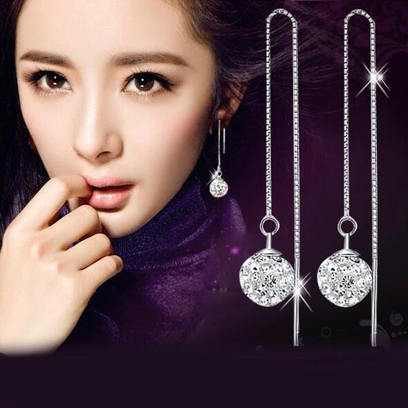 High quality 925 Silver Plated Shambala Ball Long Pattern Ear Cuff Earrings Diamond Crystal disco beads Earings fine Jewelry for women girls