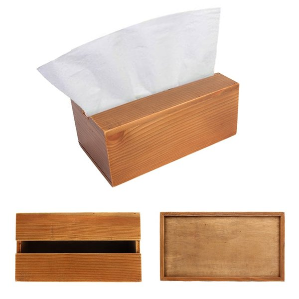 Wholesale- Napkins Container Paper Dispenser Wooden Facial Tissue Box Holder for Living Room